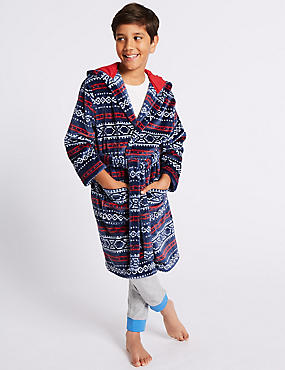 Fairisle Dressing Gown with Belt (1-8 Years), BLUE MIX, catlanding