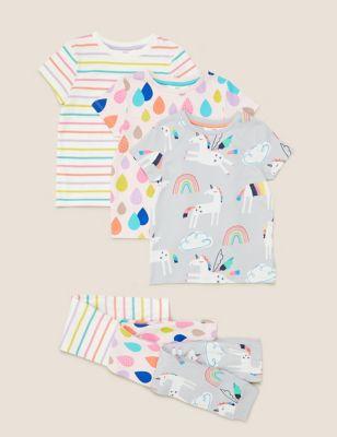 3pk Pure Cotton Unicorn Pyjama Sets (1-7 Yrs)