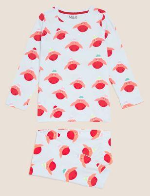 Pure Cotton Robin Print Pyjamas (12 Mths - 7 Yrs)