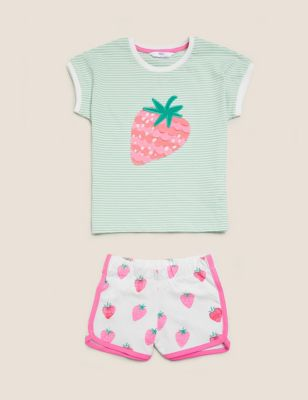 Pure Cotton Strawberry Short Pyjama Set (1-7 Yrs)