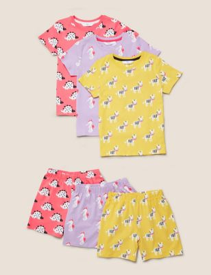 3pk Pure Cotton Animal Short Pyjama Sets (1-7 Yrs)