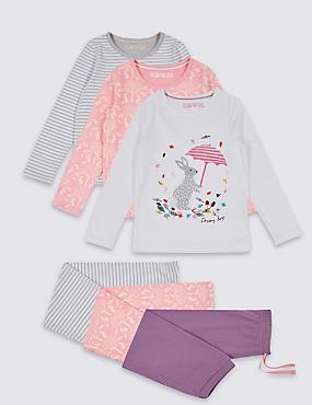 3 Pack Cotton Pyjamas (9 Months - 8 Years), MULTI, catlanding