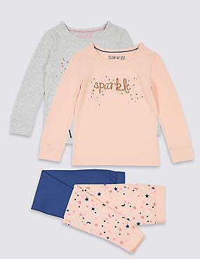 2 Pack Printed Pyjamas (9 Months - 8 Years), PINK MIX, catlanding