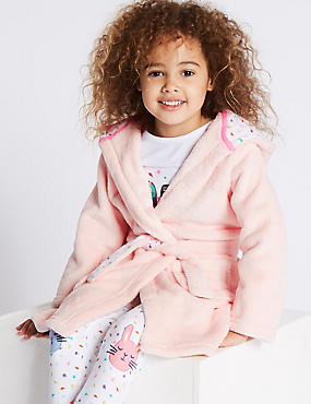 Bunny Dressing Gown with Belt (1-8 Years), PINK MIX, catlanding