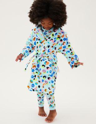 Fleece Leopard Print Dressing Gown (1 - 7 Yrs)