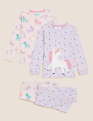 2pk Pure Cotton Unicorn Pyjama Sets (1-7 Yrs)