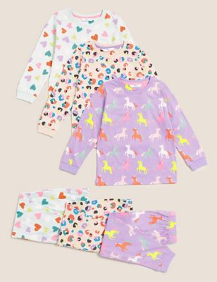 3pk Pure Cotton Patterned Pyjama Sets (1-7 Yrs)