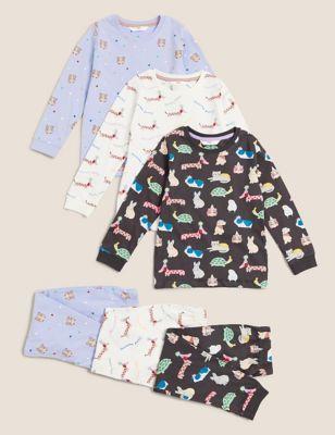3pk Pure Cotton Animal Pyjama Sets (1-7 Yrs)