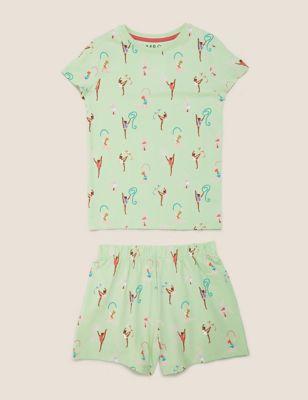 Cotton Gymnast Print Short Pyjama Set (1-7 Yrs)