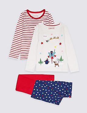 2 Pack Pure Cotton Pyjamas (9 Months - 8 Years), RED MIX, catlanding