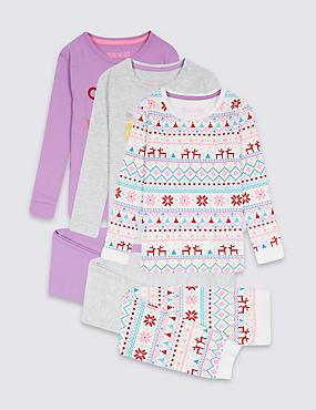 3 Pack Cotton Rich Pyjamas (9 Months - 8 Years), GREY MIX, catlanding
