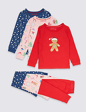 3 Pack Cotton Pyjamas with Stretch (9 Months - 8 Years), PINK MIX, catlanding