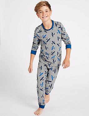 All Over Print Pyjamas (1-16 Years), GREY MIX, catlanding