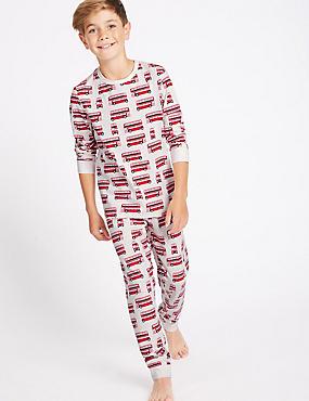 Printed Pyjamas with Stretch (1-16 Years), WHITE MIX, catlanding