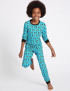 Cotton Pyjamas with Stretch (1-16 Years), BLUE MIX, catlanding