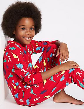 Cotton Dinosaur Print Pyjamas with Stretch (1-16 Years), RED MIX, catlanding