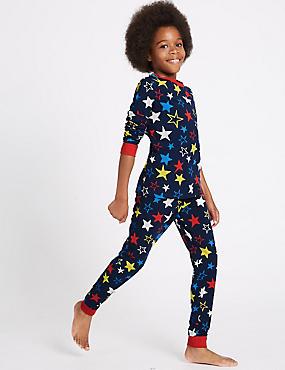 2 Piece Cotton Rich Printed Pyjamas (1-16 Years), NAVY MIX, catlanding