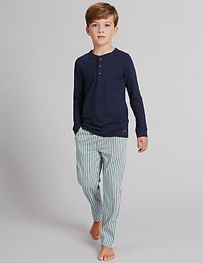 Striped Long Sleeve Pyjamas (1-16 Years), WHITE MIX, catlanding