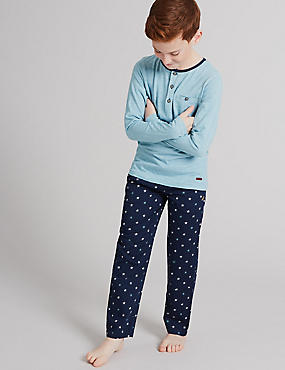 Pure Cotton Star Print Pyjamas (1-16 Years), NAVY MIX, catlanding