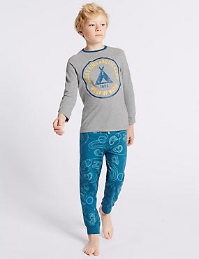Printed Long Sleeve Pyjamas (3-16 Years), GREY MIX, catlanding