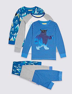 3 Pack Printed Pyjamas (3-16 Years), BLUE MIX, catlanding