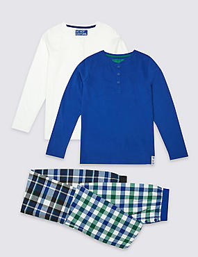 2 Pack Placket Checked Pyjamas (3-16 Years), BLUE MIX, catlanding