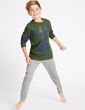 Long Sleeve Pyjamas (7-16 Years), GREEN MIX, catlanding