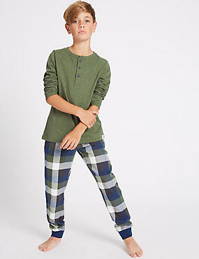 Long Sleeve Pyjamas (7-16 Years), GREEN MIX, catlanding