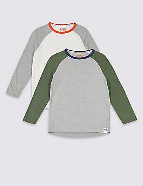 2 Pack Pyjama Tops (7-16 Years), MULTI, catlanding