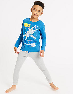 Pure Cotton Star Wars™ Pyjamas (5-16 Years), GREY MIX, catlanding