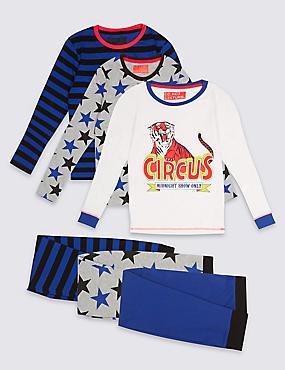 3 Pack Long Sleeve Pyjamas (3-16 Years), BLUE MIX, catlanding