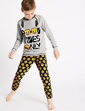 Emoji™ Print Pyjamas (7-16 Years), BLACK MIX, catlanding