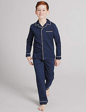 Pure Cotton Spotted Pyjamas (1-16 Years), NAVY MIX, catlanding