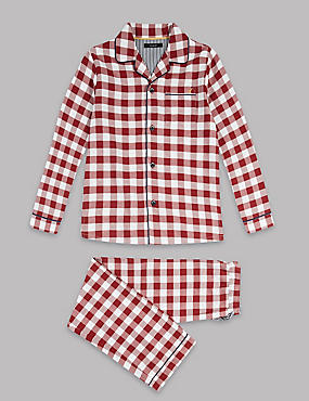 Pure Cotton Gingham Pyjamas (1-16 Years), BURGUNDY MIX, catlanding