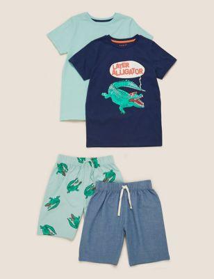 2pk Pure Cotton Alligator Short Pyjama Set (6-16 Yrs)