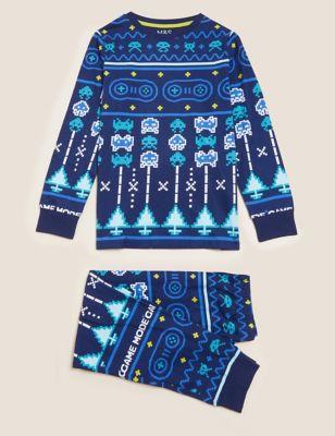 Pure Cotton Fair Isle Gaming Pyjamas (6-16 Yrs)