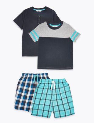 2 Pack Woven Short Pyjama Sets (6-16 Yrs)