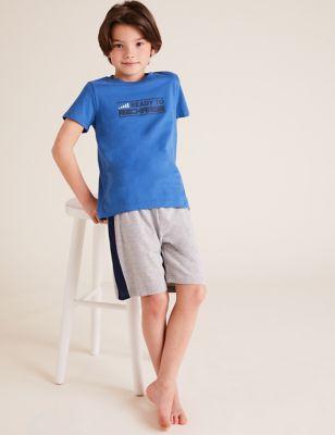 2pk Cotton Slogan Pyjama Sets (6-16 Yrs)