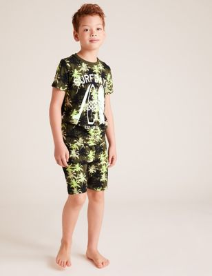2pk Pure Cotton Surfboard Print Pyjama Sets (6-16 Yrs)