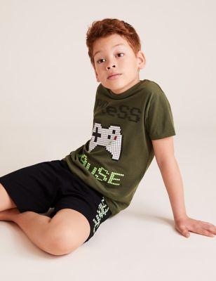 2pk Cotton Gaming Print Short Pyjama Sets (6-16 Yrs)