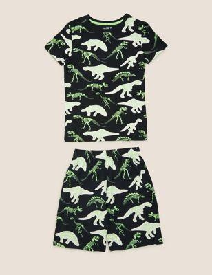 Pure Cotton Dinosaur Short Pyjama Set (7-16 yrs)