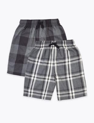 2 Pack Cotton Checked Pyjama Shorts (6-16 Yrs)