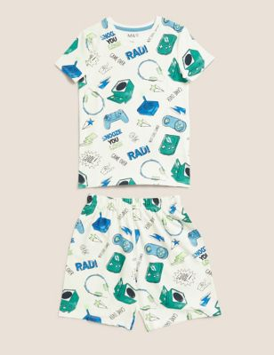 Pure Cotton Gaming Print Short Pyjama Set (7-16 Yrs)
