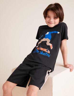 2pk Pure Cotton Skateboard Pyjama Sets (6-16 Yrs)