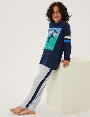 2pk Cotton Football Print Pyjama Sets