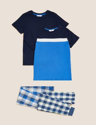 2pk Pure Cotton Checked Pyjama Sets (6-16 Yrs)