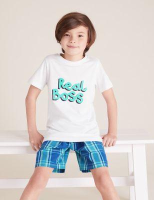 Mini Me Boss Slogan Short Pyjama Set (1-10 Yrs)