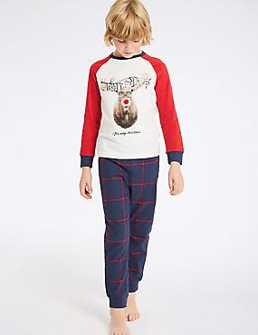 Pure Cotton Reindeer Pyjamas (3-16 Years), WHITE MIX, catlanding