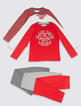 3 Pack Long Sleeve Pyjamas (3-16 Years), RED MIX, catlanding