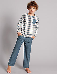T86/5795: Pure Cotton Herringbone Striped Pyjamas (1-16 Year)